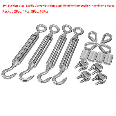 Wire Rope Aluminum Sleeve Clip Thimble M4-10 Thread Hook Eye Turnbuckle Kits
