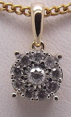 Solid 9Ct Yellow Gold Natural Diamond Pendant