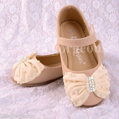 Pearls Diamante Bow Mary Janes Shoes Size UK 8-1 EU 25-32 Wedding Party #016