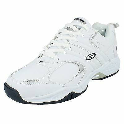 Mens Hi Tec White Leather Lace Up Trainers Style - Argon