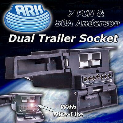 Ark Dual Trailer Socket 7 Pin Flat & 50A Anderson Plug Nite-Lite & Reed Switch