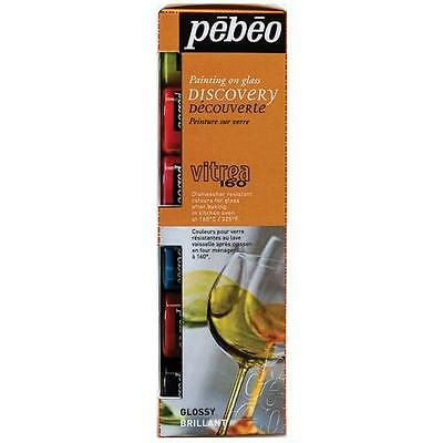 PEBEO VITREA 160 GLOSSY GLASS PAINTING 6 x 20ML WATER BASED PAINT CRAFT HOBBY