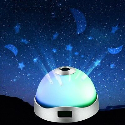 Baby Children Bedroom Rotating LED Star Projector Night Light Lamp With Alarm