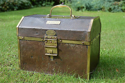 Antique steel and brass travel document case deed box strong box G.R.SYMONDS