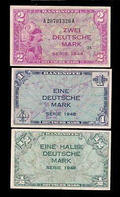 Germany - 1/2, 1, 2  Deutschmark 1948 Allied Currency