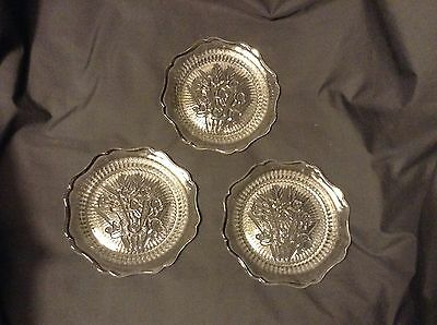 """3-5.5"""" IRIS & HERRINGBONE Bread & Butter Plates by JEANNETTE Very nice condition"""