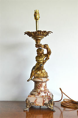 Impressive large antique table lamp young Bacchus holding a grapevine cherub