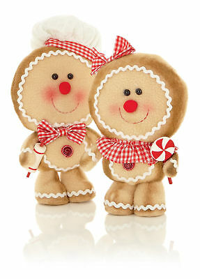 2 x Christmas cuddly Standing Gingerbread Man Chunky - set of Man & Lady