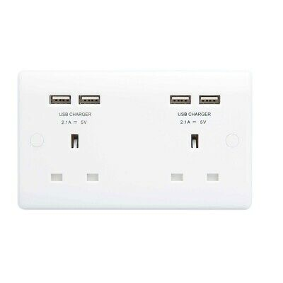 Masterplug Double Electrical Socket with 4 USB Ports High and Fast Output 4.2amp