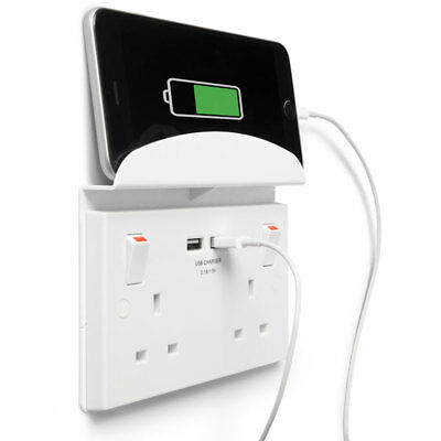 Masterplug Twin USB Mains Socket Inc Shelf  Phone Holder High Fast 2.1amp output