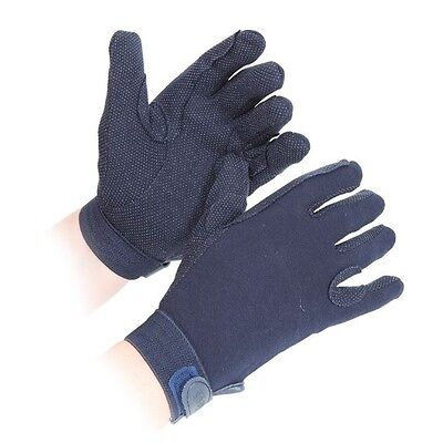 SHIRES NEWBURY gloves ADULTS NAVY 880 horse rider grip gloves cotton XS - XL
