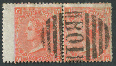 GB Used in Br. Levant Z17 4d Vermilion Pl12, MG/MH pair, B01 Alexandria