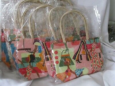 Wholesale lot of 10 small purses bags pink multi color shopping theme NIP