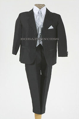 NEW BOY (Sz 0/1/2/3/4/5/6)FORMAL 5 PCS SUIT Set BLACK w/SILVER TIE,VEST,Holiday