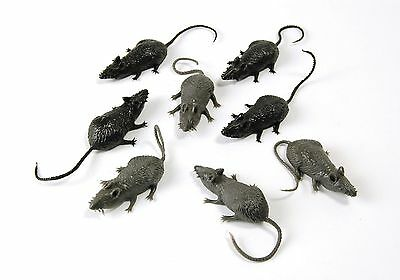 8 Rubber Mice Scary Creatures Halloween Prop Fancy Dress Accessory
