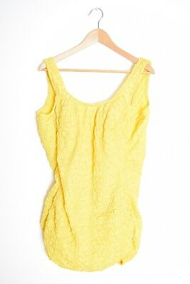 vintage 60s swimsuit Peter Pan by Oleg Cassini yellow smocked one piece XL