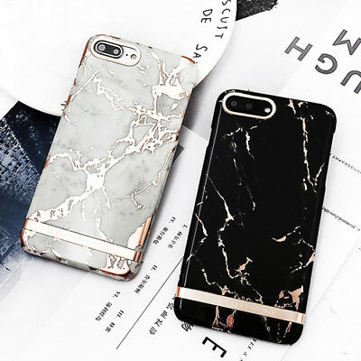 For iPhone XS MAS XR 6 6s 7 8 Plus Luxury Rose Gold Marble Print Hard Phone Case