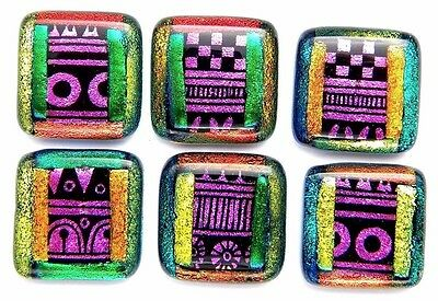 set 6 SQUARE DICHROIC FUSED GLASS CAB PENDANT KNOBS (C2) Chris Stell ETCHED