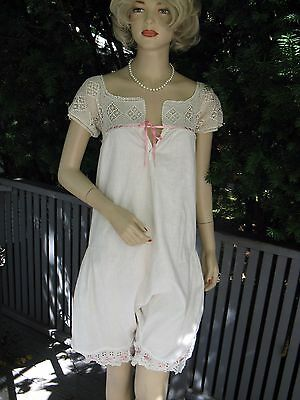 Vtg Antique Edwardian Bloomers Romper, White Cotton with Crocheted Top
