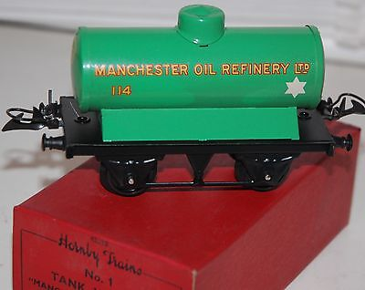 HORNBY SERIES O GAUGE No 1 MANCHESTER OIL REFINERY WAGON IN GREEN LIVERY BOXED