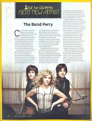 "the Band Perry, Country Music Stars in 2012 Magazine Clipping, ""54th Grammy's"""