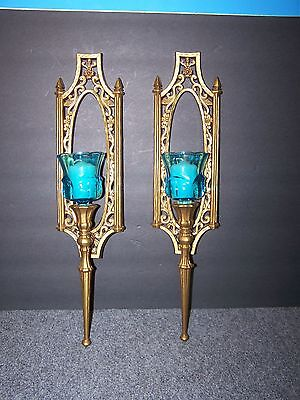 2 Syroco No 5132 Wall Sconces With Glass Candle Holders