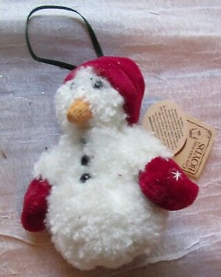 Vintage Boyds Bears Plush Snowman Ornament With Tags