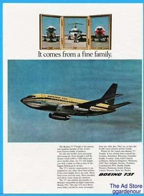 1967 Boeing 737 Twinjet Newest Smallest 707 727 720 Photos Print Ad