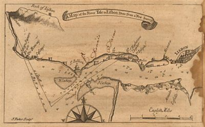 """""""A map of the River Tale to Lisbon…"""". Tagus Estuary. MOUNT & PAGE sea chart 1749"""