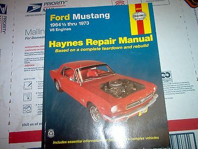 haynes repair manual 1964 1/2 - 1973 ford mustang with wiring diagrams v8  only