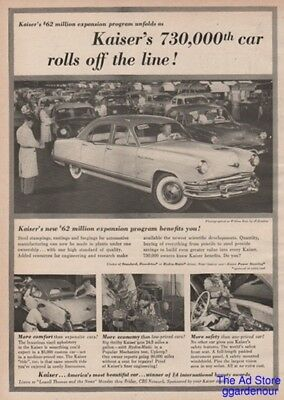 1953 Kaiser's 730,000th Car Factory Photo Willow Run Plant Vintage Magazine Ad