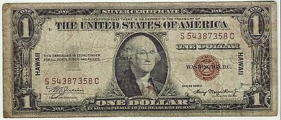 1935A WWII HAWAII Emergency Issue United States $1 Silver Certificate Note(7358)