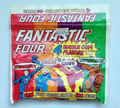 Vintage 1984 Amurol FANTASTIC FOUR Bubble Gum Pouch candy container Marvel Fleer