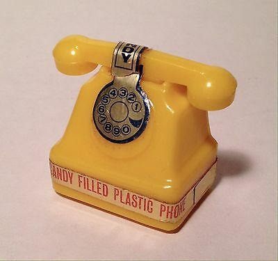 Vintage 1969 Alberts Yellow HELLO Telephone Candy Container Woodstock hippy sip