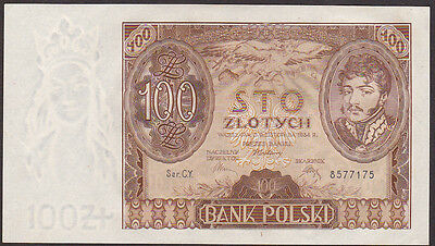 100 ZLOTICH FROM POLAND 1934 C Aunc