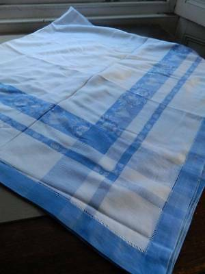 Vintage 1940's Farmhouse table style cotton tablecloth with blue damask border