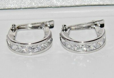UK Hallmarked 9ct White Gold 1.50ct Princess Huggie / Cuff Earrings - 1.6 grams