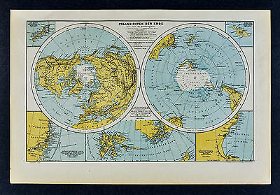 c 1885 Hartleben Map World Polar Projections North South Pole Antartica Arctic