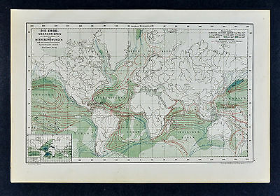 c 1885 Hartleben Map - World Meteorology - Weather Storms - Wind Ocean Currents