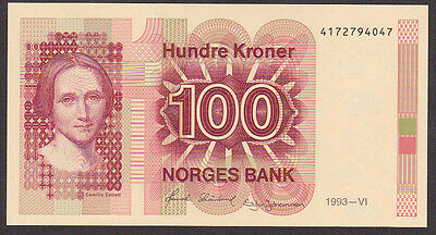 100 Kroner From Norway 1993  C Unc
