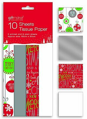 10 Sheets of Christmas Xmas Gift Wrap Tissue Paper Red White Silver & Bauble