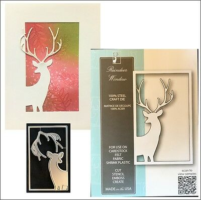 Reindeer Window metal die - Memory Box cutting dies 99797 deer animal frames