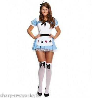 Ladies Sexy Alice in Wonderland Book Day Fancy Dress Costume Outfit STD & Plus