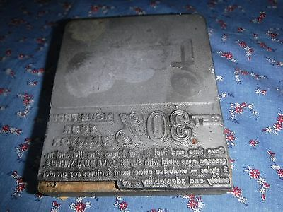 Antique Printing Block Metal  on Wood  Tractor at Top Super Drive Dual Wheels
