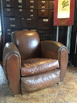 Vintage Antique Art Deco French Leather Club Chair