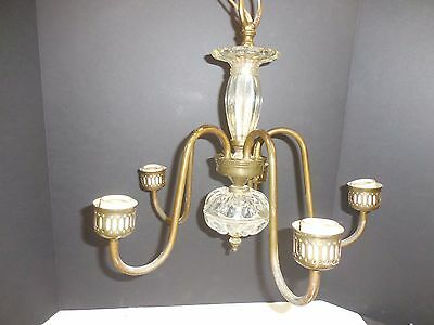 Vintage 5 Light Brass & Crystal Chandelier
