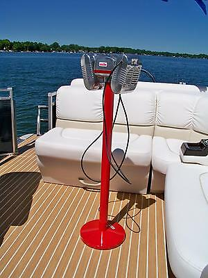 Eprad Drive-In Movie Speaker Set With Round Red Powder Coated Metal Pole & Base