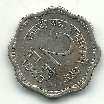 Very Nice High Grade Unc 1963 C India 2 Paise-Oct416