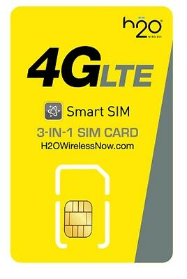 H2O Wireless 3-in-1 SIM card (Nano/Micro/std.) & $30 Unlimited Plan w Activation