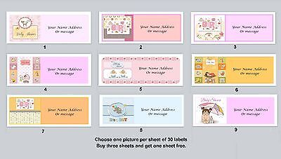 30 Personalized Return Address Labels Baby Shower Buy 3 get 1 free (ba2)